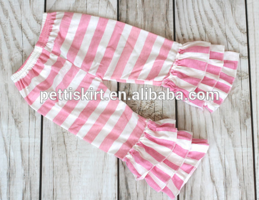 Hot sale strip 면 pants 도매 girls 세 겹으로 프릴 baby girl hot pants