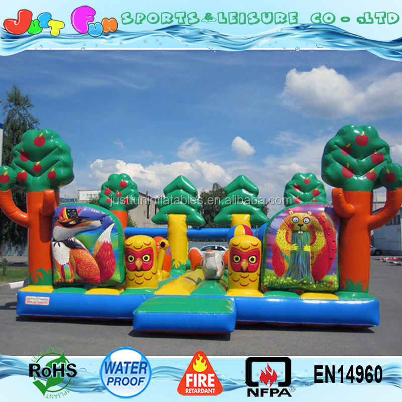 children animals kingdom inflatable bouncer fun city with ball pool