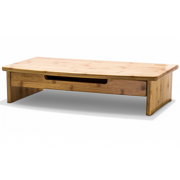natural bamboo monitor stand with pull-out drawer