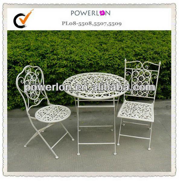 powerlon vintage franz sisch stil gartenm bel metall bistro set set im garten produkt id. Black Bedroom Furniture Sets. Home Design Ideas