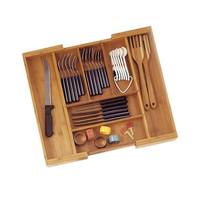 Expandable Bamboo Silverware Drawer Organizer With Lid 3