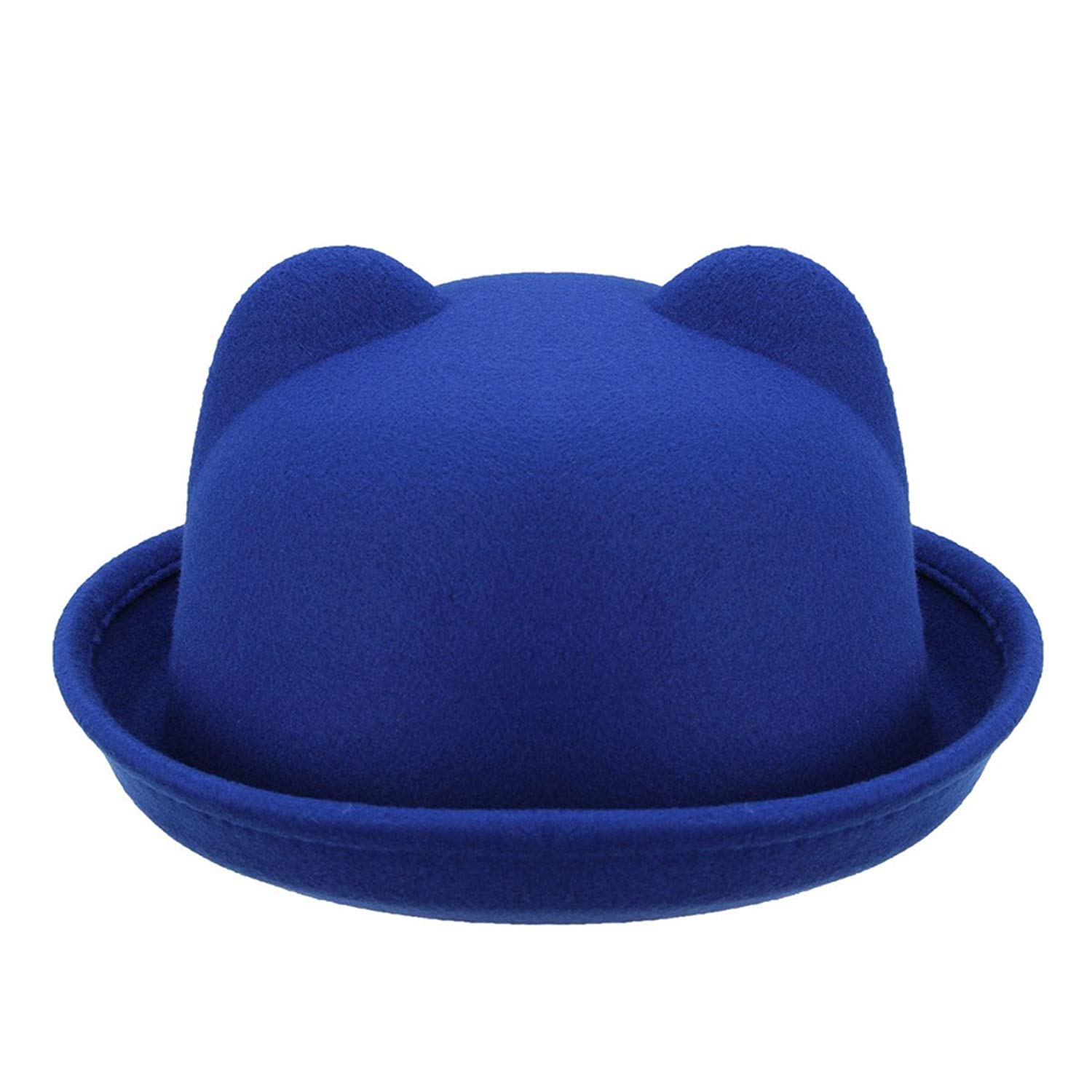 a780ee3f1ea Get Quotations · ECYC Women Cute Solid Color Bowler   Derby Fedora Formal  Hats With Ears