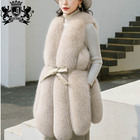 luxury knitted women gorgeous overcoat mujer knitting real fox fur coat