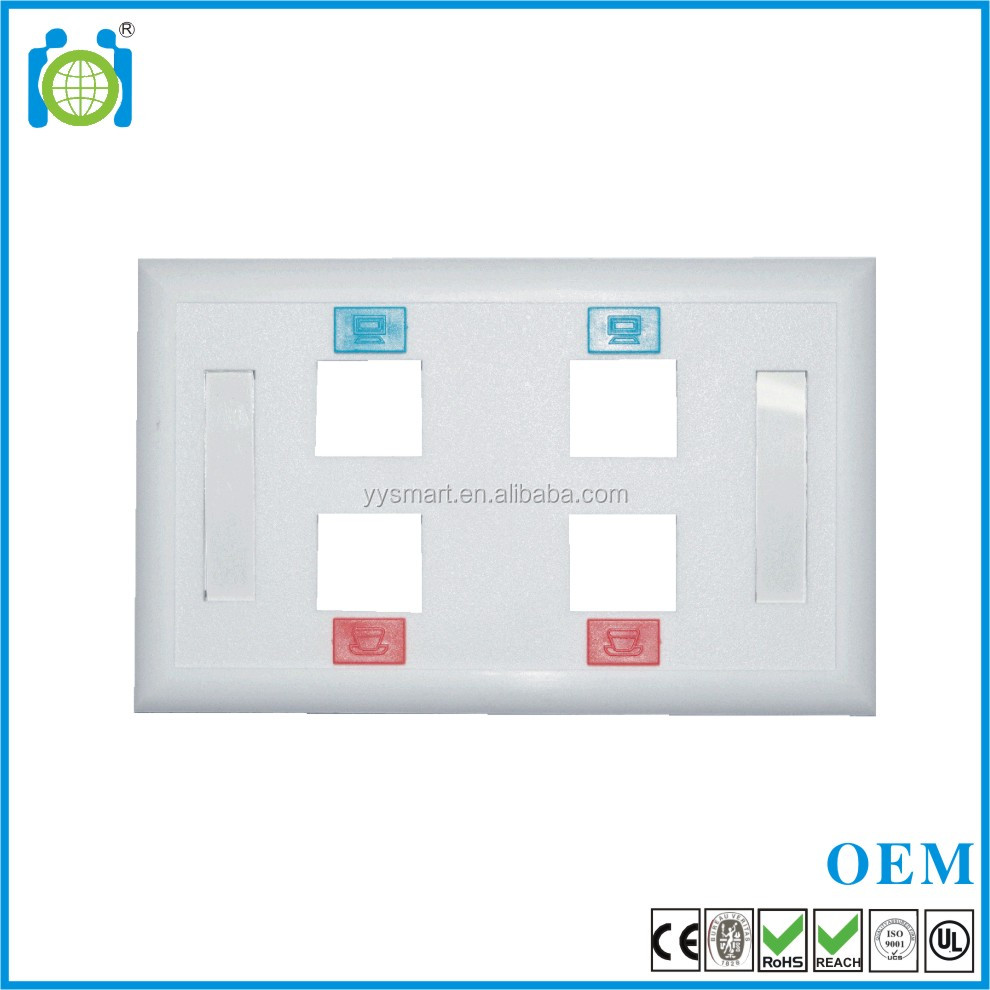 Good price 114*70MM rj45 Keystone Jack 1 ports America face plate wall plate
