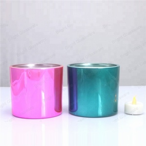Christmas Iridescent Cylinder Glass Candle Jar, Iridescent Jars Made In China