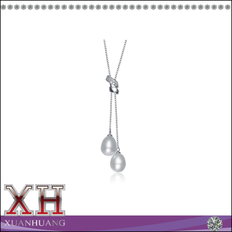 Famous jewelry two river pearl dangling designs necklace with cubic zirconia