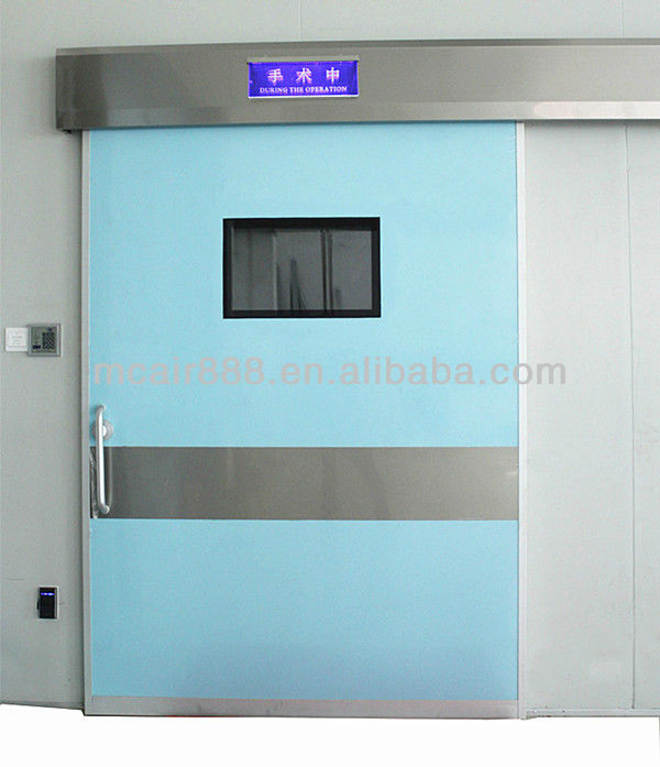Operating room air tight sealed automatic sliding door with knee control