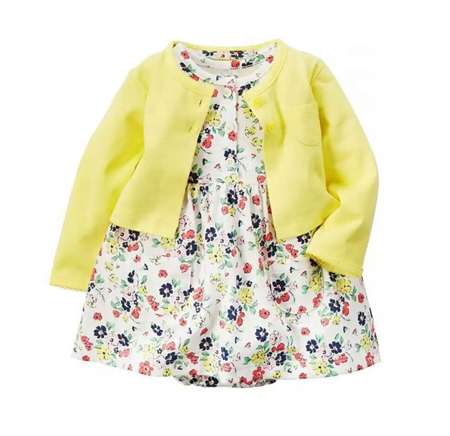 All size 2pcs infant girl outfit clothes with cotton coat baby romper dresses set фото
