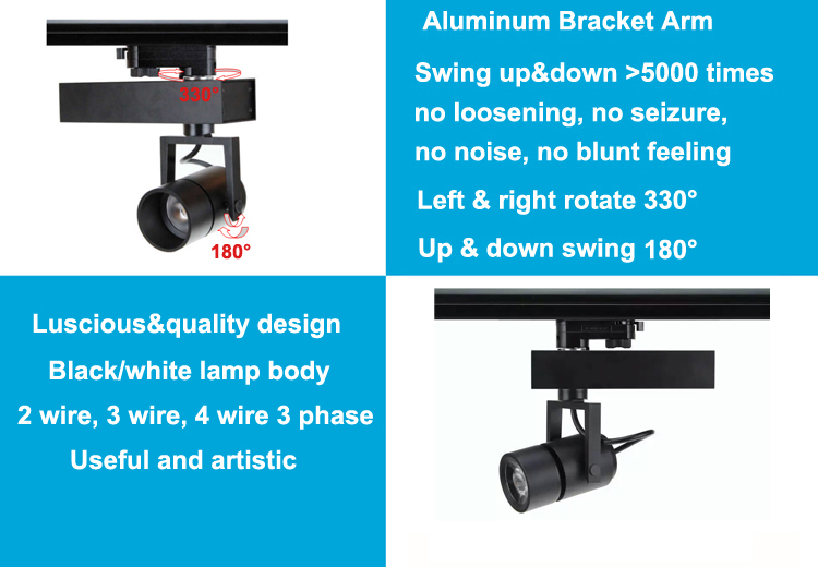 3 times Anti-glare 12 degree 24 degree 36 degree 15W 25W 35W led track light for shop lighting