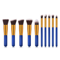 10 Pcs Synthetic Hair Blue Makeup Brushes Real Tech Brushes Tools