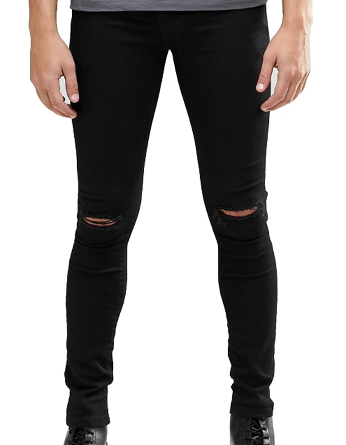 dcfc241752a Get Quotations · Men's Skinny Fit Knees Slit Ripped Jeans Stretch Slim  Denim Pants Black