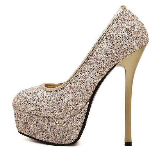 99343c9868f Get Quotations · stylish high platform thin heel spring women high heel  shoes sexy gold shoes silver shoes newest