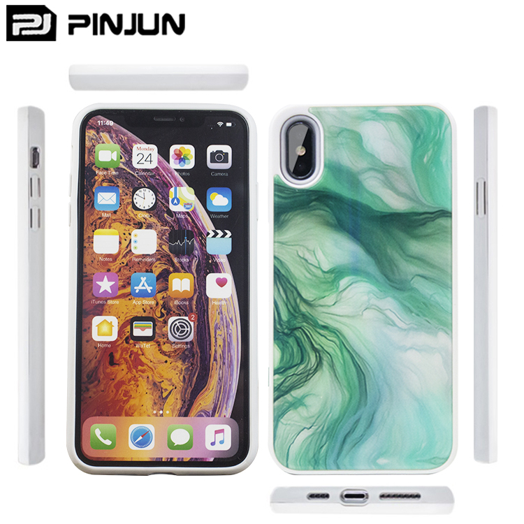 New aurora coloured drawing acrylic phone case for iphone xs max case hard back tpu bumpers