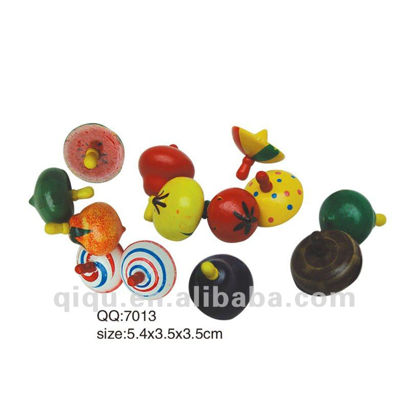 Classic Childhood Small Wooden Fruit Gyro Toys Spinning Top