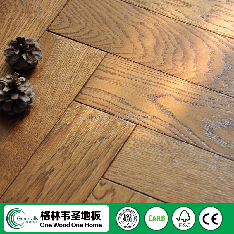 Greenvills white oak solid wooden herringbone click lock hardwood flooring