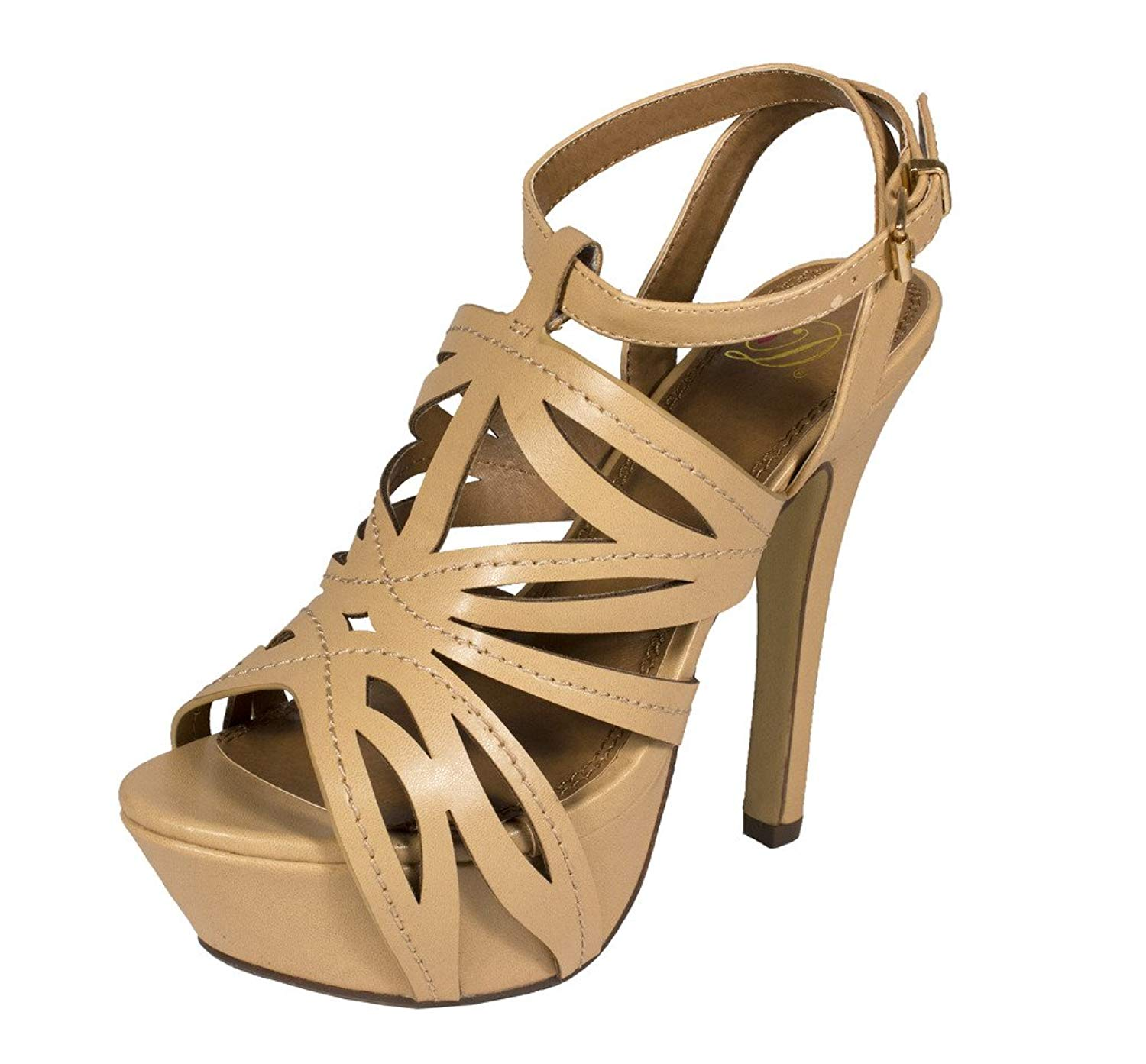 Delicious Women's Rustic Peep Toe Cut Out Ankle Strap Platform High Heel Sandal in Natural Leatherette