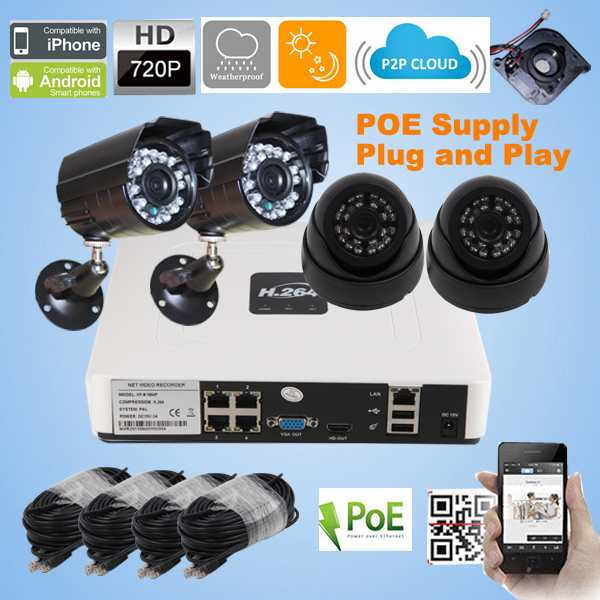 4CH 720P POE NVR kit 2pcs Outdoor Weatherproof 2pcs indoor dome 720P IP camera P2P NVR system Surveillance CCTV System Kit