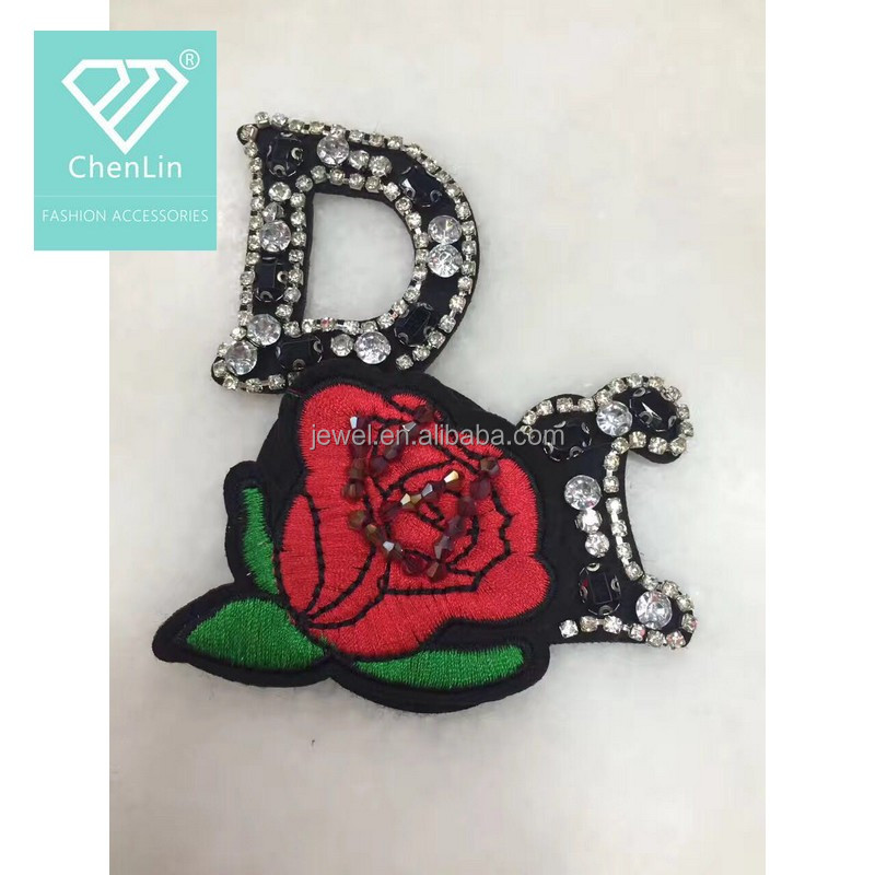 good looking embroidery rose patch with beaded letter design patch