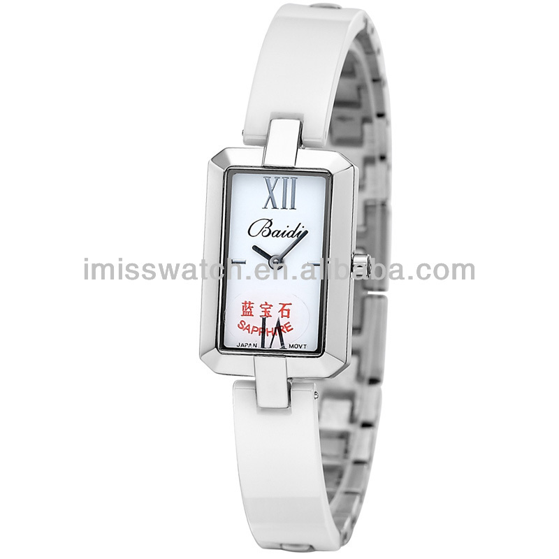 High quality luxury sapphire glass crystal dial plating case white leather bracelet watches BD71139