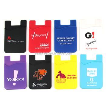 Hot selling custom logo printing 3m sticker silicone credit card holderbusiness card holder
