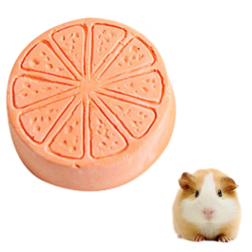 Pet Fruit Type Calcium Stone Hamsters Rabbits Small Pets Teeth Grinding Stones Pets Training Tools(Orange)