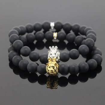 15d668f3c81a King Crown 8 mm Black Onyx Gem Stones Luxury Bracelet Men As Best Gifts