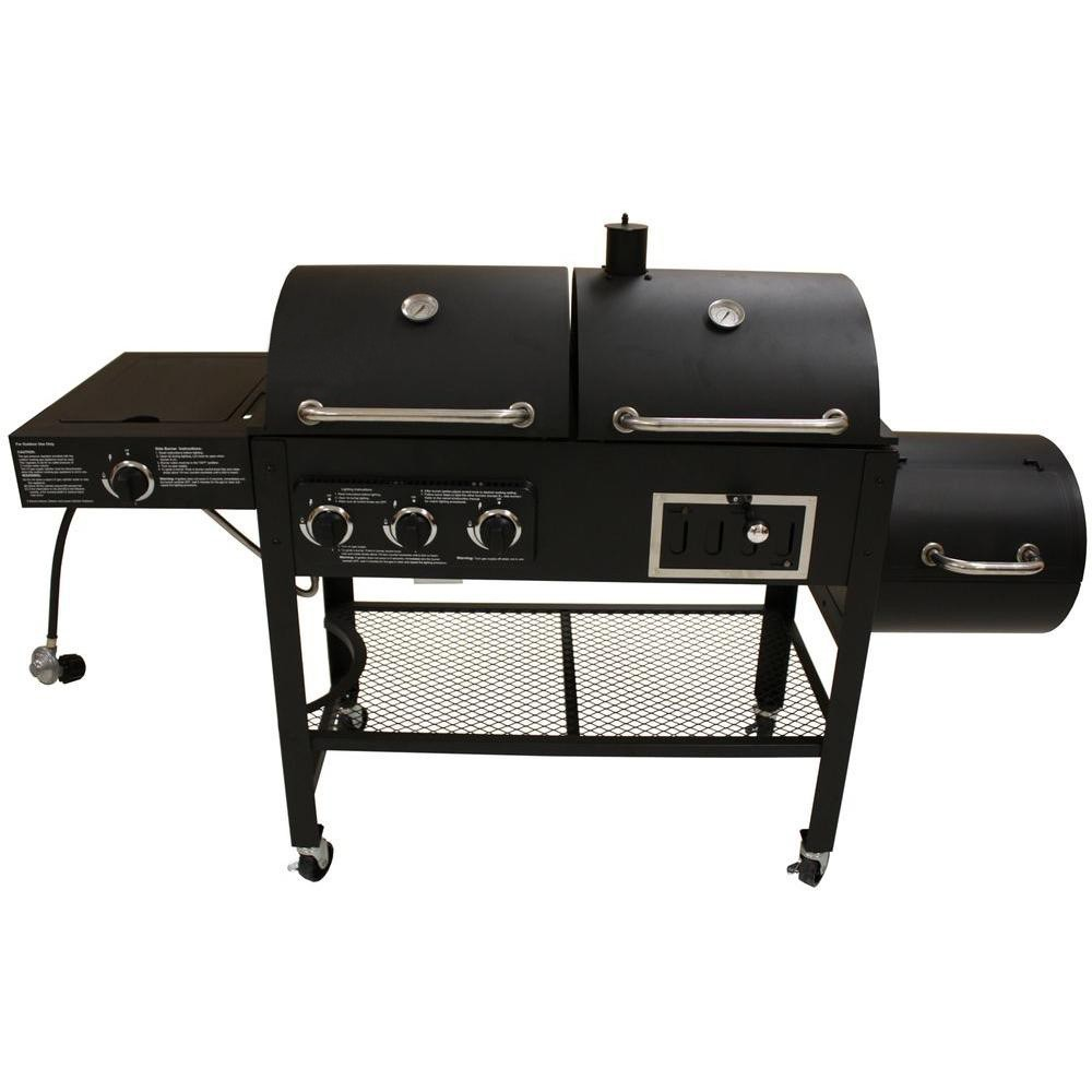 Gas Charcoal Smoker 3-in-1combo Combination Hybird ...