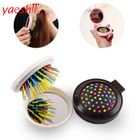 Yaeshii Portable Round Pocket Small Size Travel Massage Folding Comb Hair Brush With Mirror