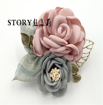 Korean European Japan women fashion ol office lady handmade decorative fabric rose flower brooches