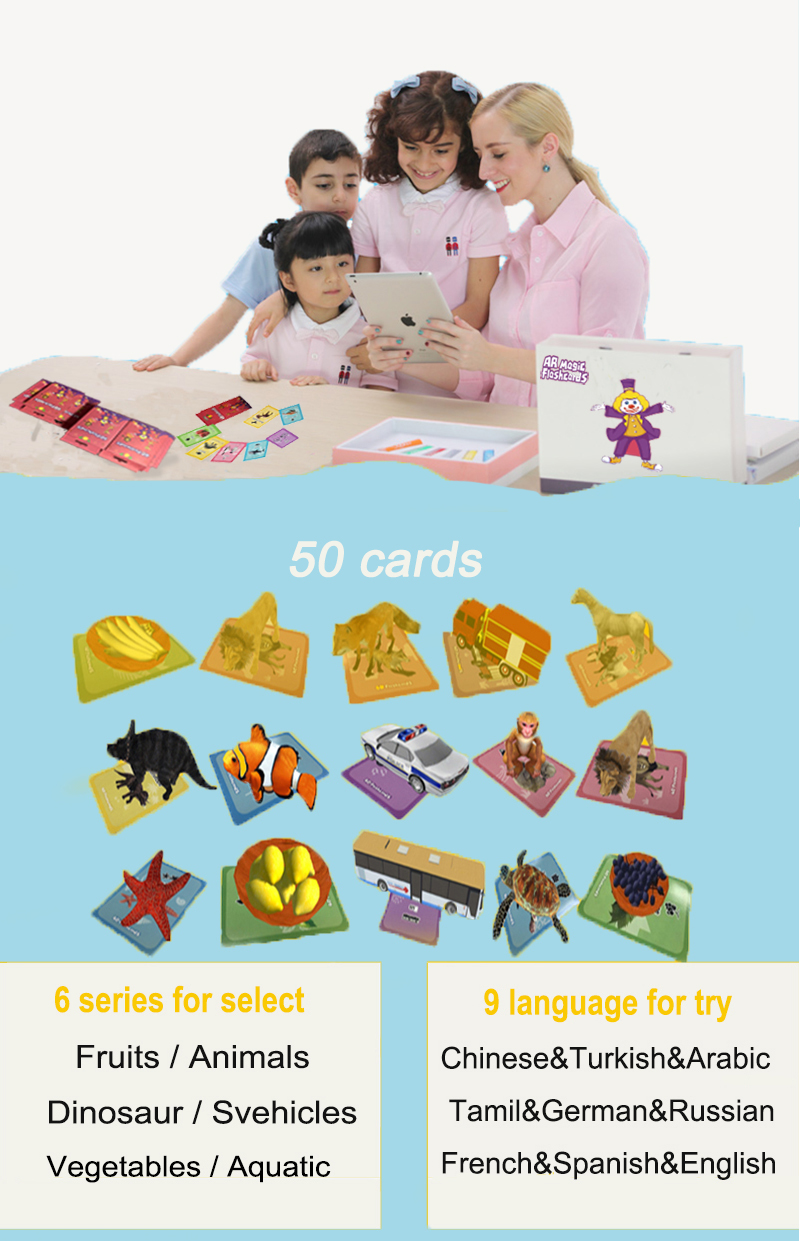 hot selling 2019 amazon toys for kids ar early educational card Augmented Reality 4D AR Learning Cards with funny
