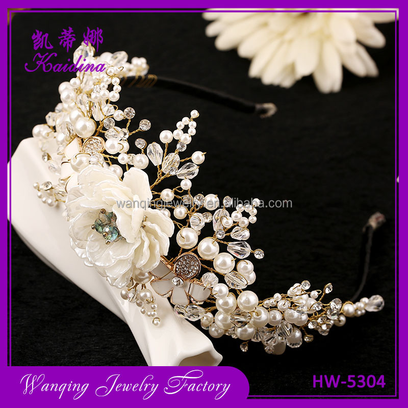 Western Wedding Hair Accessories Jewelry Handmade Gold Crystal Pearl Vine Flower Crown And Tiara Baroque Girls Crown