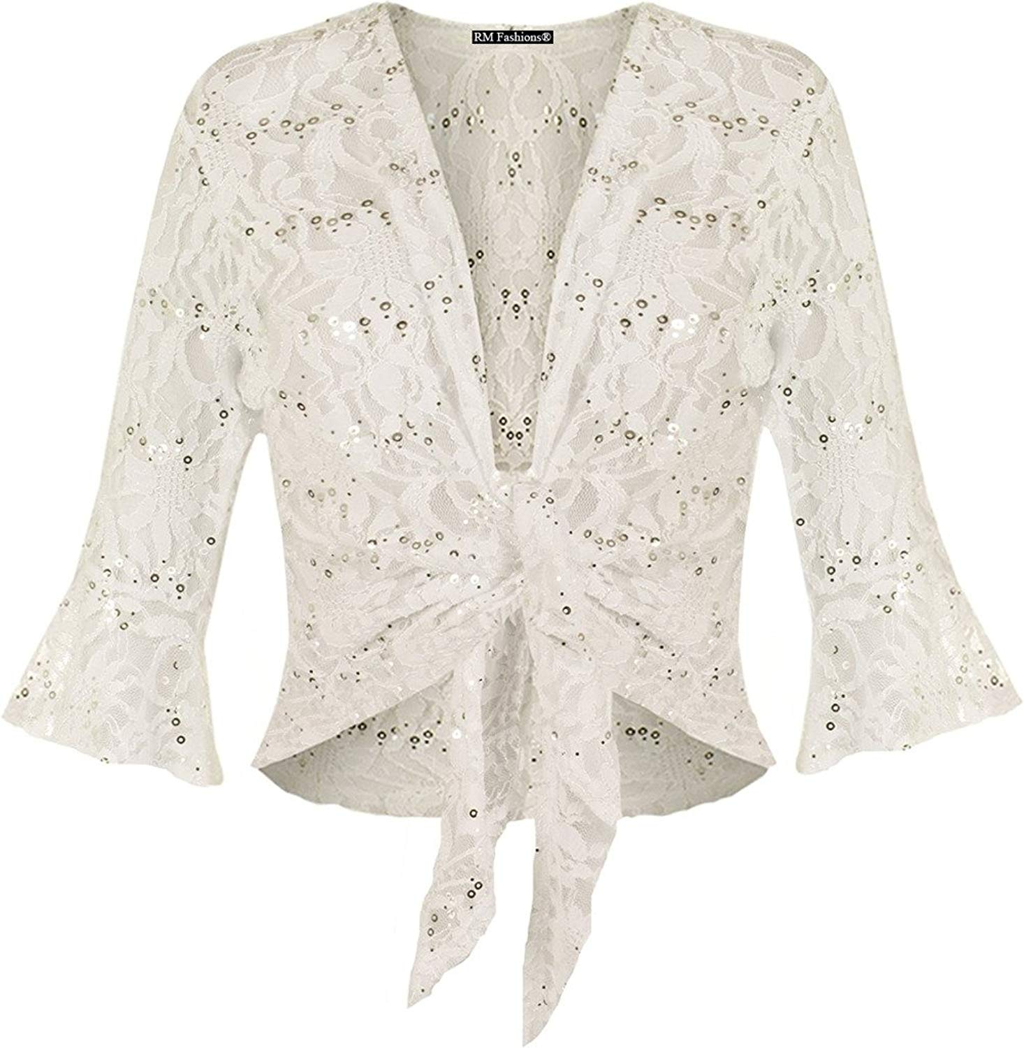 d54831c3967be Get Quotations · RM Fashions Women's Plus Size Tie up 3/4 Flared Bell Sleeve  Lace Sequin Bolero
