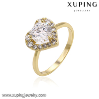 14225 Xuping minimum price of diamond latest designs fashion Indian gold heart shape gold designs finger ring