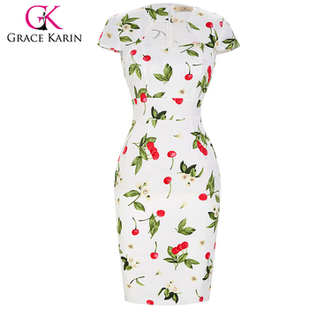 Grace Karin 17 Patterns Cap Sleeve Printed Cherry Cotton Retro ...