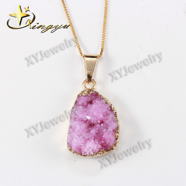 Sweet Druzy Geode Necklace Natural Drusy <strong>Stone</strong>