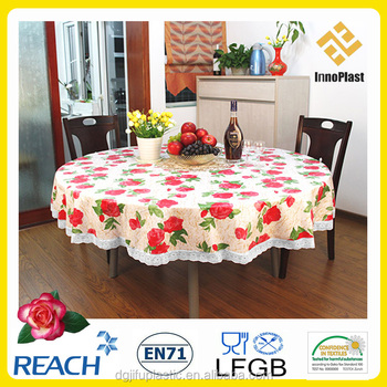 Printed vinyl tablecloth home party decoration 120 round for 120 round plastic table covers