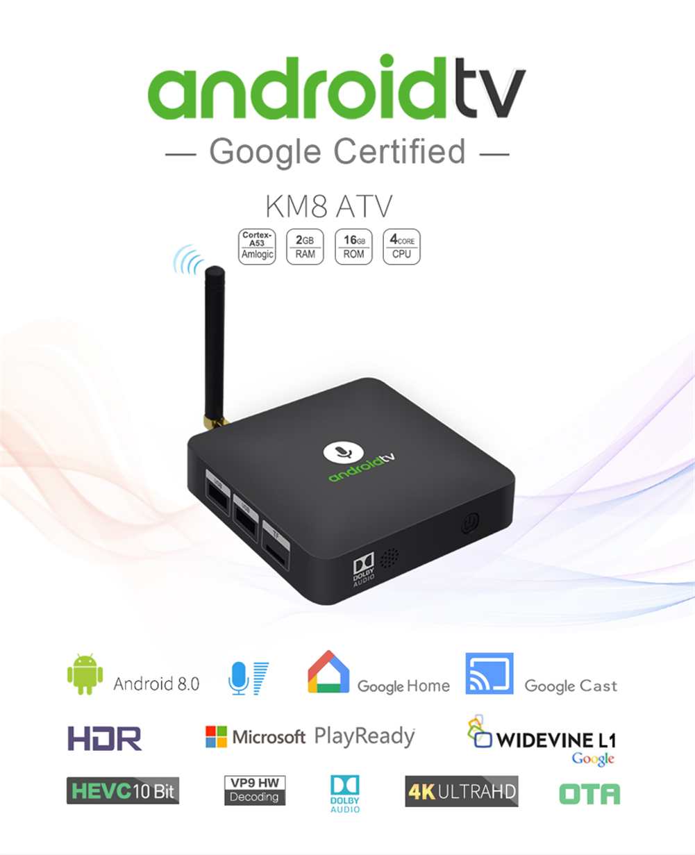 4k android tv box KM8 ATV S905X 2G 16G android 8.0 oem wireless media player ott KD player hd  tv box smart set top box