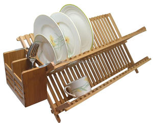 Folding Bamboo Dish Drying Rack with Flatware Holder Set