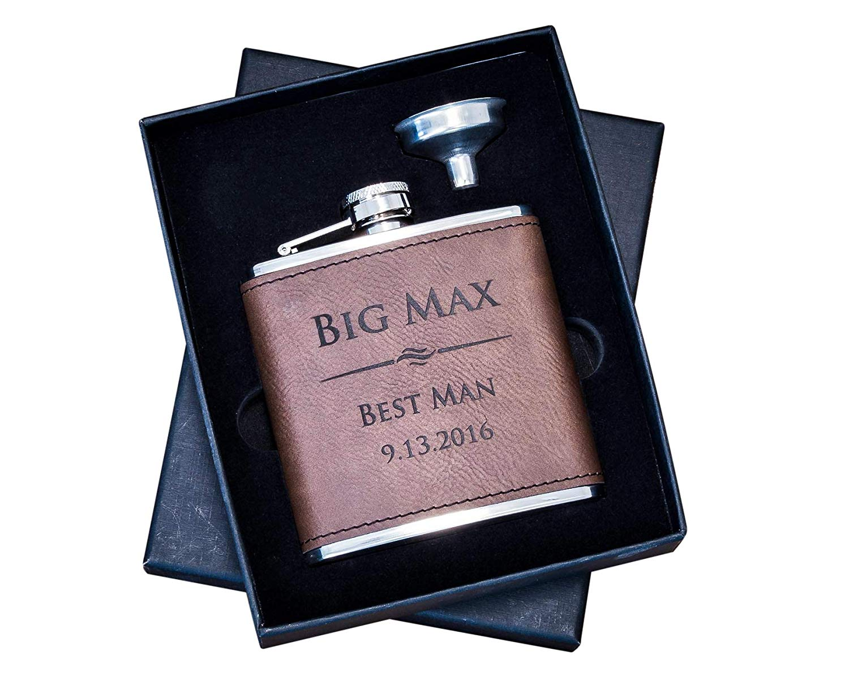 Personalized Dark Brown Leather Groomsmen Gift Flask Box 2pc Set- Custom Engraved Hip Flasks, Rustic Customized Vegan Wrapped #304 Steel 6 oz, Groomsman Whiskey Gifts For Men 2pc Set