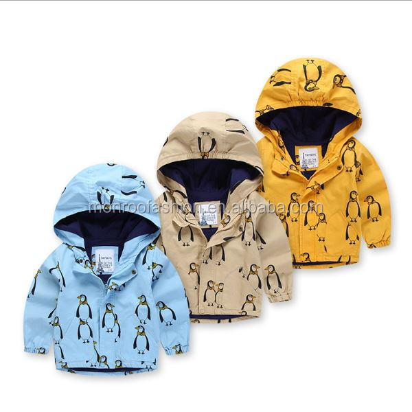 monroo full penguin pattern boys jackets kids winter coats