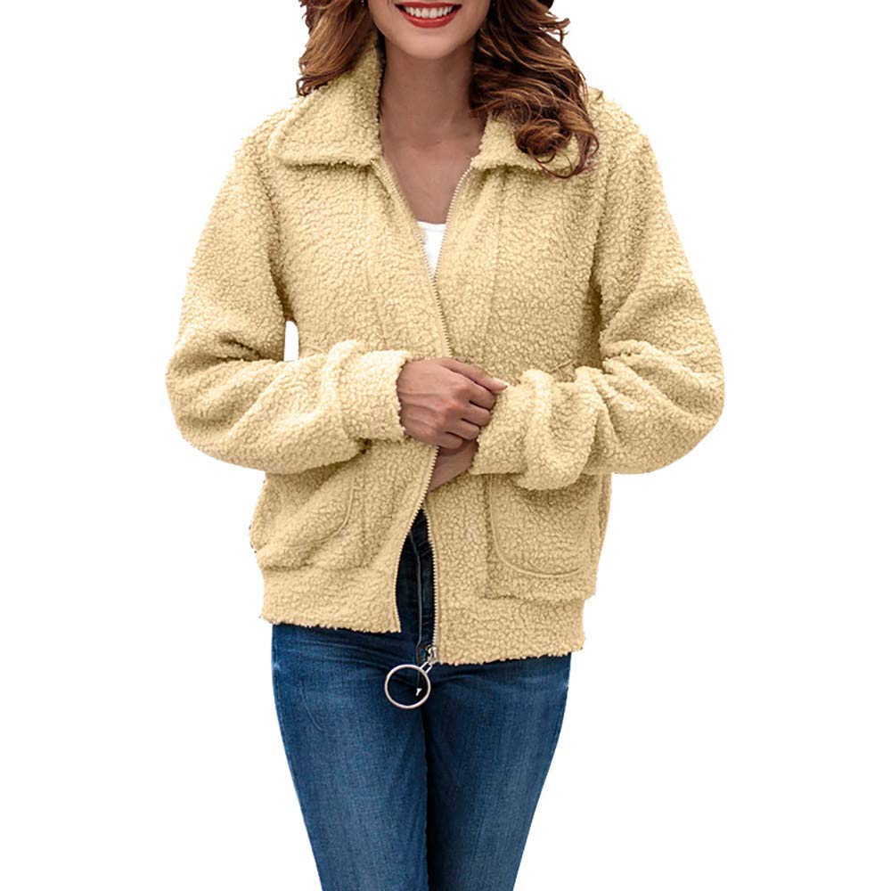 5c1f76fddff Get Quotations · Seaintheson Womens Fuzzy Coat Clearance