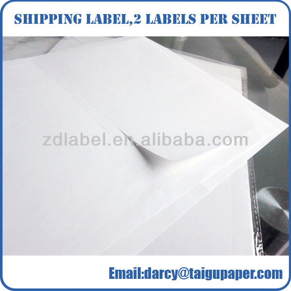 Environmentally friendly white shipping label