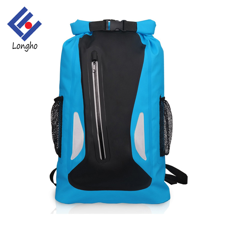 2017 Multipurpose collapsible swim backpack mesh & flap pockets foldable waterproof dry bag backpack