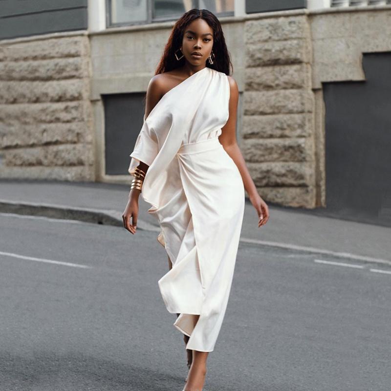 Elegant noble satin woman formal dress one-shoulder long fashion party ruffle split satin slip dress фото
