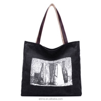 Lady printed black shopping tote bags