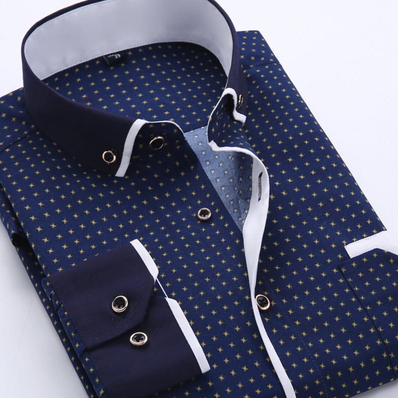 2016 Men Fashion Casual Long Sleeved Printed shirt Slim Fit Male Social Business Dress Shirt Brand