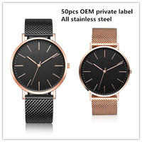 private label OEM Mesh strap japan miyota movement stainless steel quartz watches