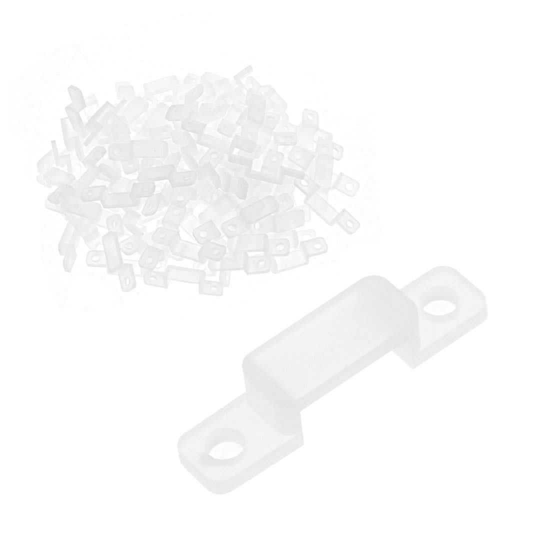 uxcell 100 Pcs Silicone Fix Mounting Brackets Clip for 8mm Wide 3528 LED Strip Light