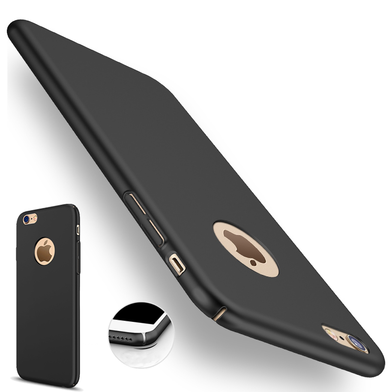 Case for iphone 7 plus Full Slim Thin cover for mobile phone for iphone 7 case black Logo Hole PC Accessories