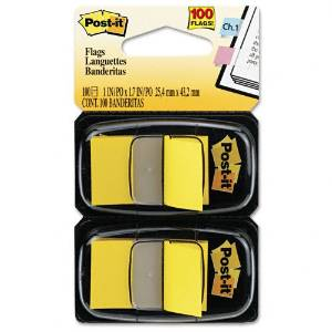 Post-it : Standard Tape Flags in Dispenser, Yellow, 100 Flags per Dispenser -:- Sold as 2 Packs of - 100 - / - Total of 200 Each